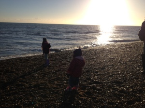 Skimming stones at Hythe